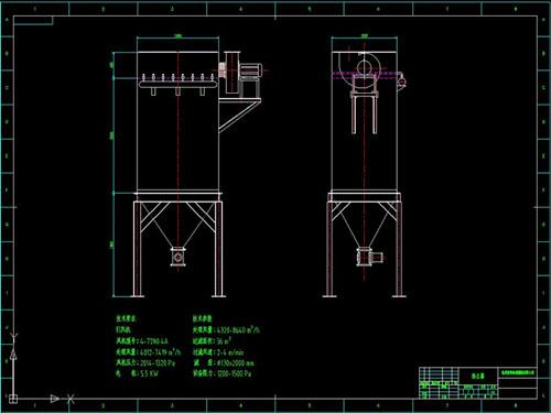 脉冲袋式除尘器cad结构图纸设计免费下载