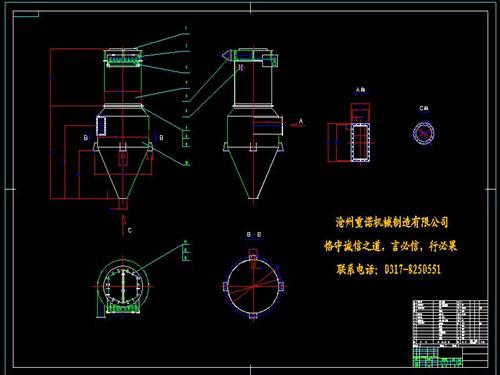 旋风脉冲袋式除尘器cad图纸设计